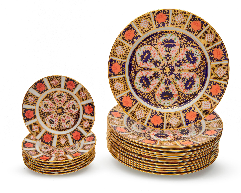 Set of Twelve Royal Crown Derby Imari Dinner Plates and Seven Dessert Plates