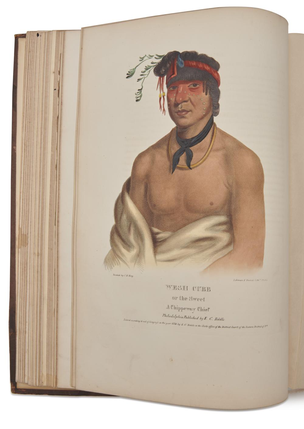 McKenney, Thomas L. (1785-1859) and James Hall (1793-1868). History of the Indian Tribes of North America. Philadelphia: Edward C. Biddle (vol. I); Daniel Rice and James G. Clark (vols. II and III); 1836-1842-1844.