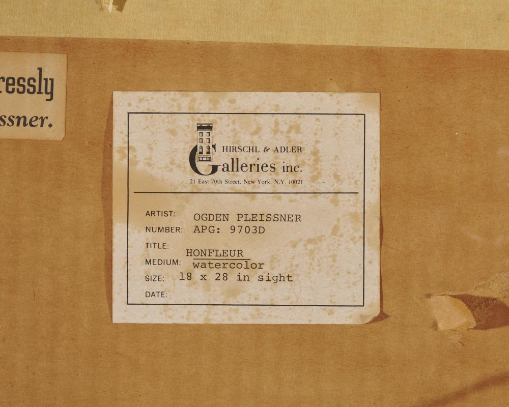 OGDEN MINTON PLEISSNER, (American, 1876-1965), Honfleur, watercolor, sight: 18 x 28 in., frame: 28 x 38 in.