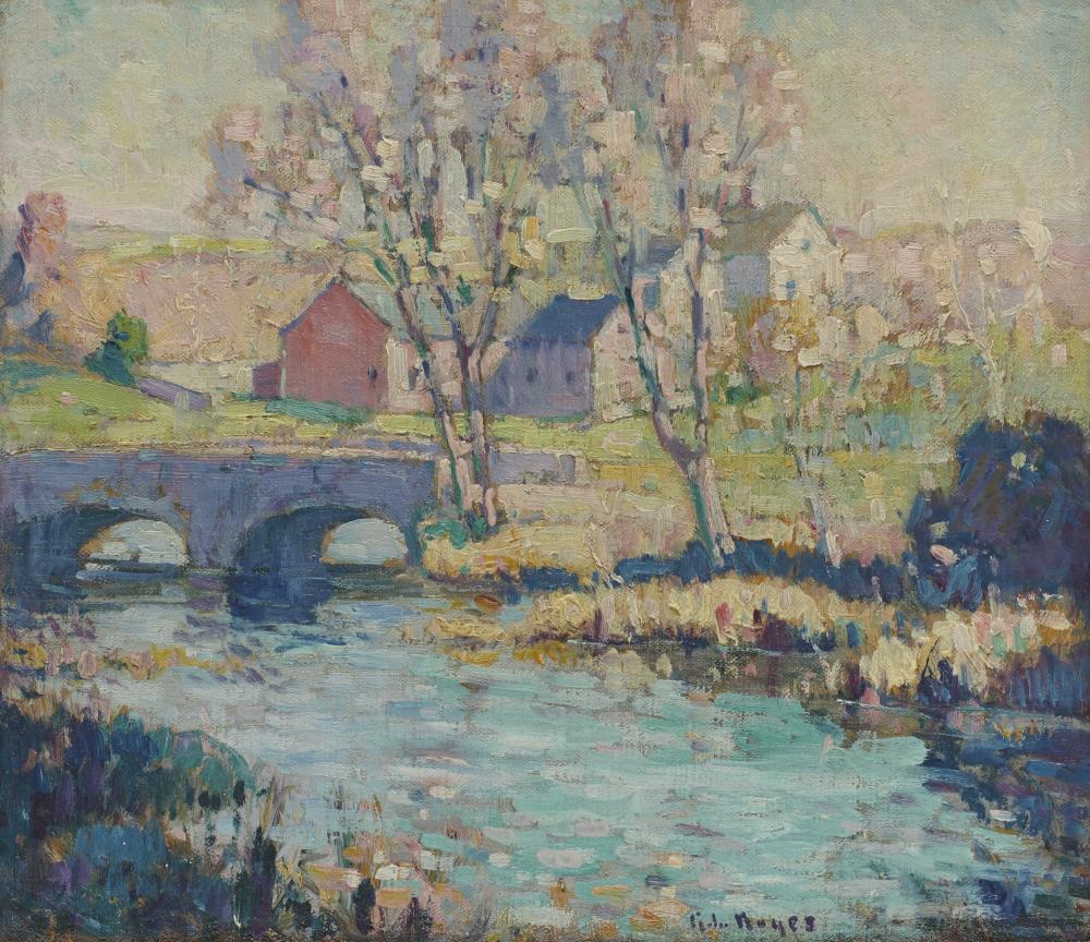 GEORGE LOFTUS NOYES, (American, 1864-1954), Spring Landscape, oil on canvasboard, 13 1/2 x 15 in., frame: 15 1/4 x 16 3/4 in.