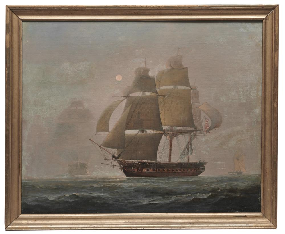 CHARLES HENRY SEAFORTH, (English, 1801- ca. 1872), The American Frigate Constitution Bearing Up and Making Sail on Discovery of an English Three-Decker through the Fog, oil on canvas, 24 x 28 1/2 in., frame: 26 x 31 1...