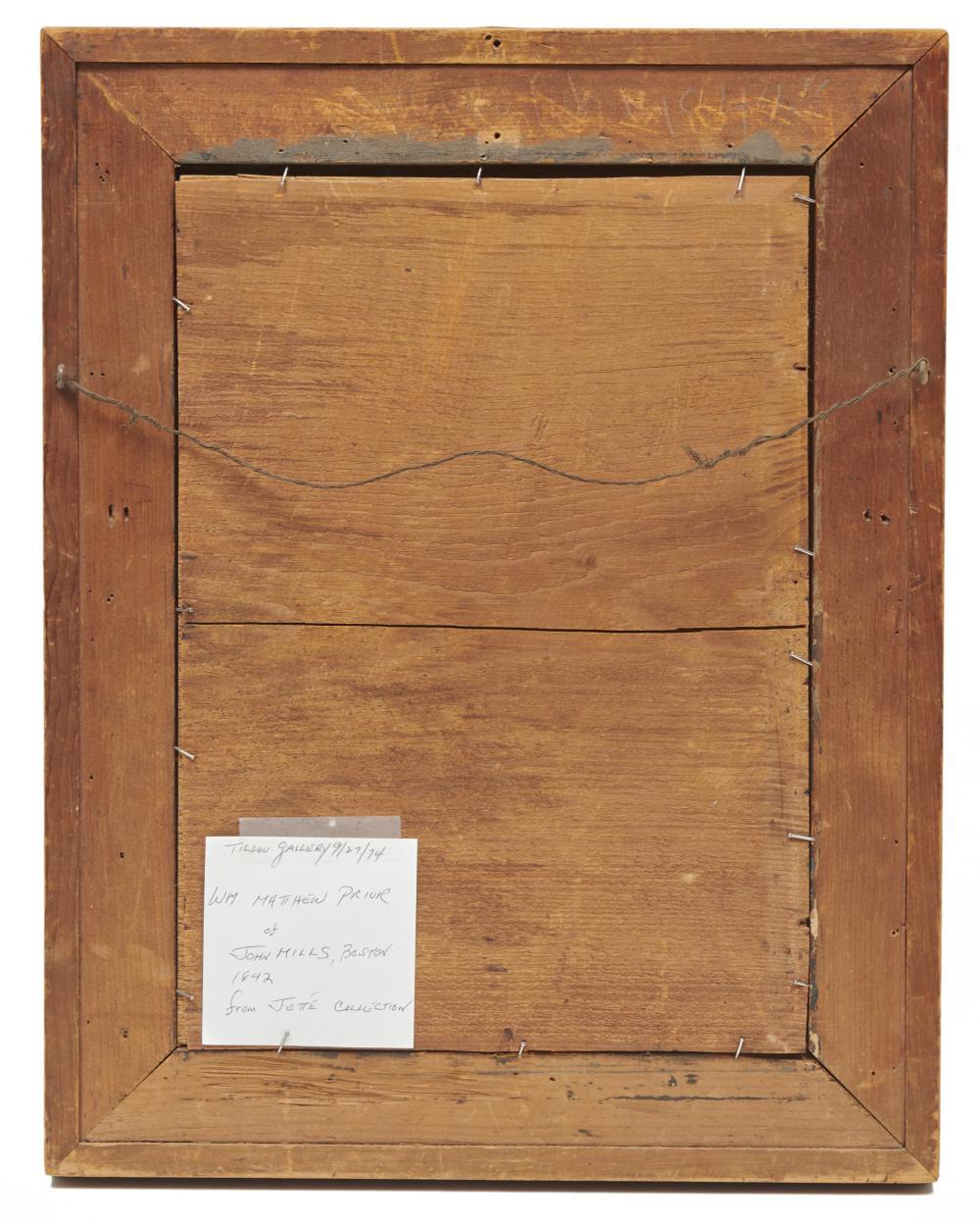 WILLIAM MATTHEW PRIOR, (American, 1806-1873), John Mills, oil on panel, 13 1/2 x 9 1/2 in., frame: 18 1/2 x 14 1/2 in.