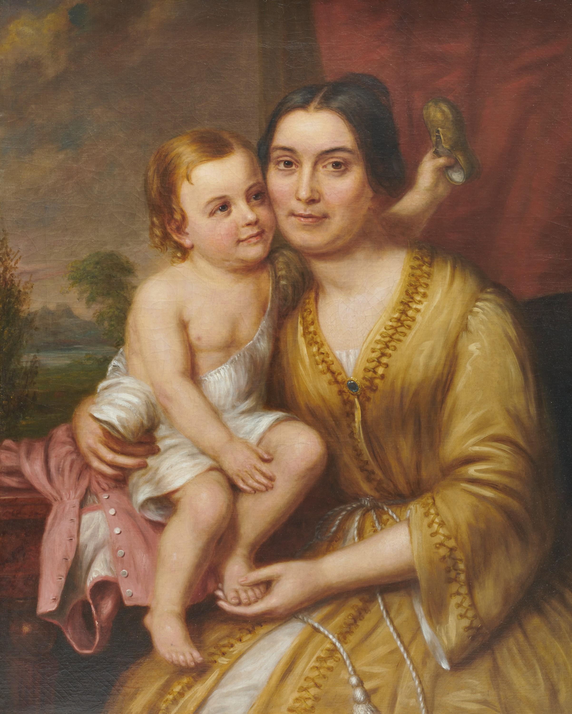 CHARLES BIRD KING, (American, 1785-1862), Rebecca Ballard (Nixon) Scott with Her Child, oil on canvas, 36 x 29 in., frame: 39 x 32 in.