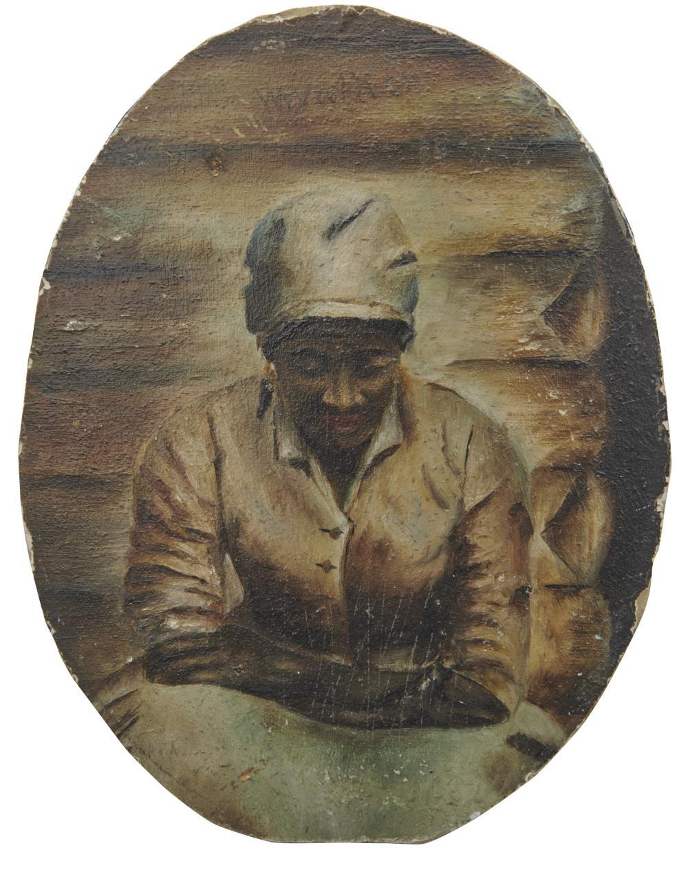 WILLIAM AIKEN WALKER, (American, 1838-1921), Portrait of a Woman, oil on board, 5 1/4 x 4 in.