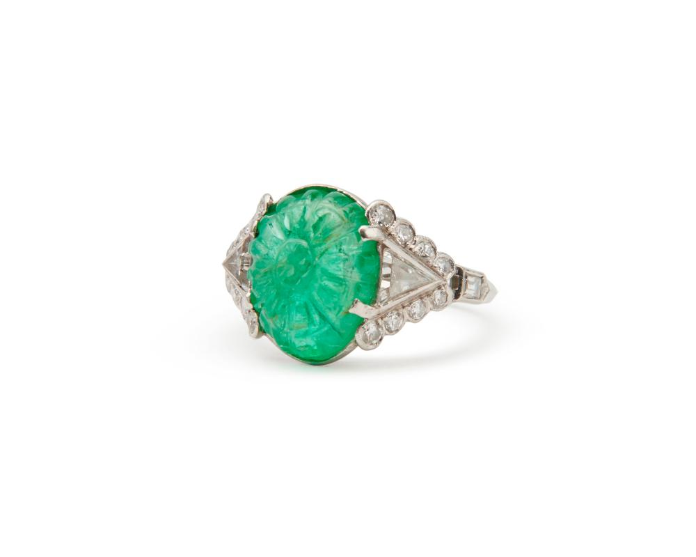 Platinum, Carved Emerald, and Diamond Ring