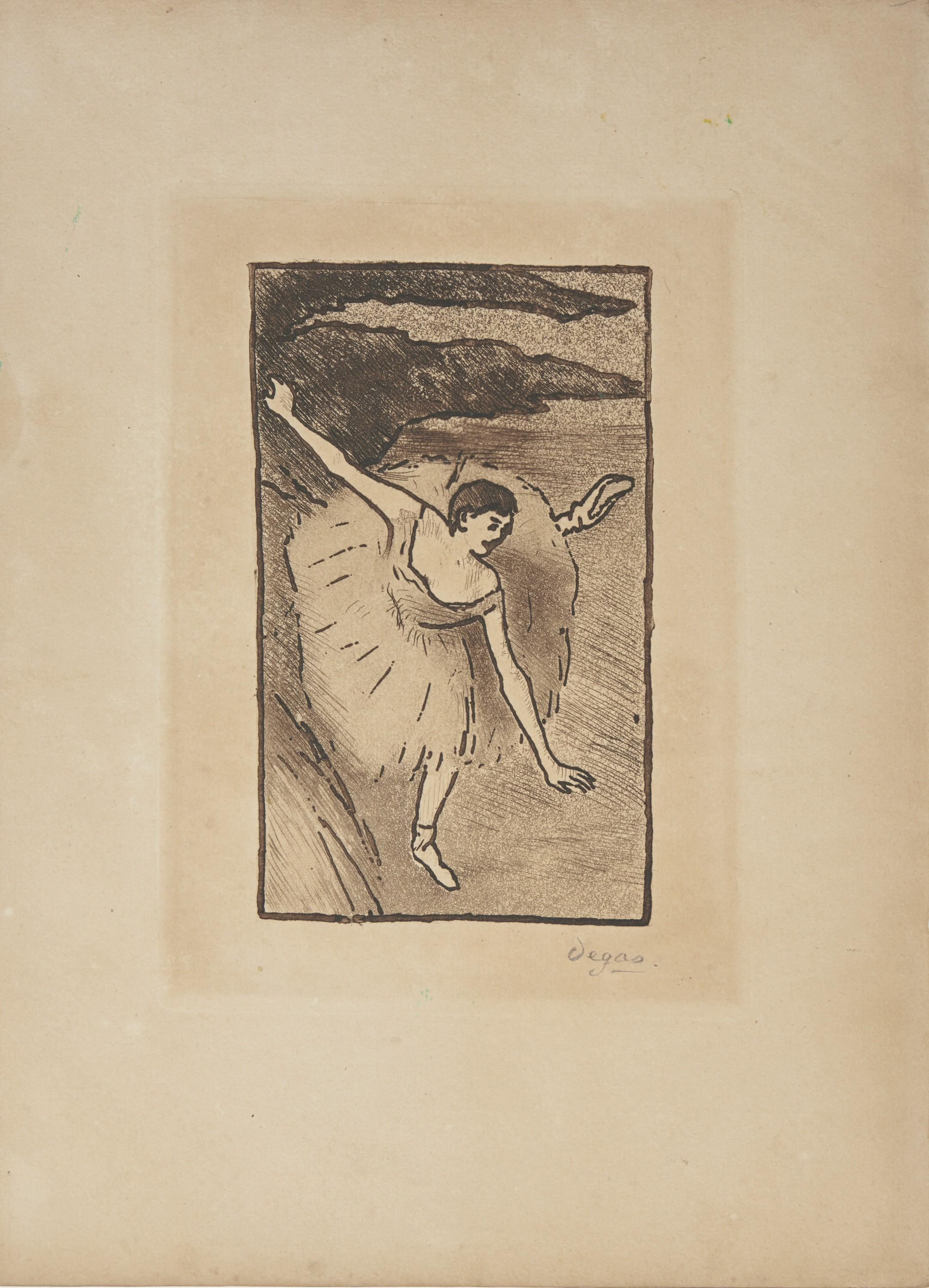 EDGAR DEGAS, (French, 1834-1917), Danseur sur scene, salutant (Dancer on Stage, Taking Her Bow), aquatint and etching, plate: 6 1/2 x 4 1/2 in., image: 5 1/4 x 3 in., sheet: 10 1/4 x 7 1/4 in.