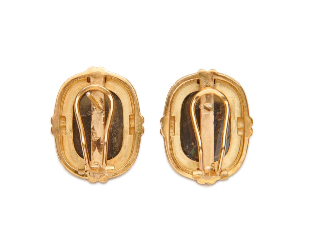 MING''S 18K Gold and Smoky Quartz Earclips