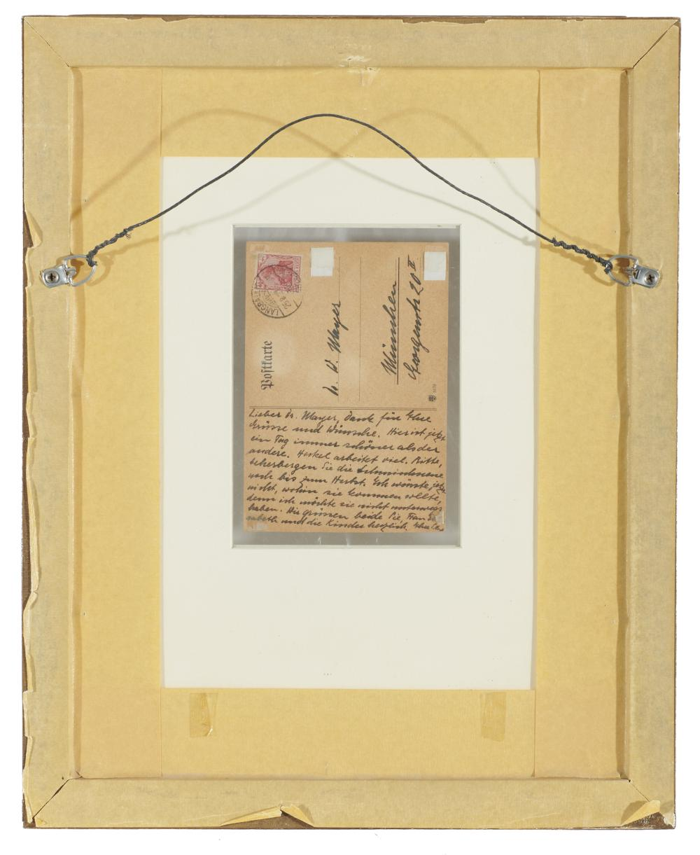 ERICH HECKEL, (German, 1883-1970), Stillleben (Flowers in a Vase), gouache and crayon postcard, 6 x 4 in., frame: 16 7/8 x 13 1/2 in.