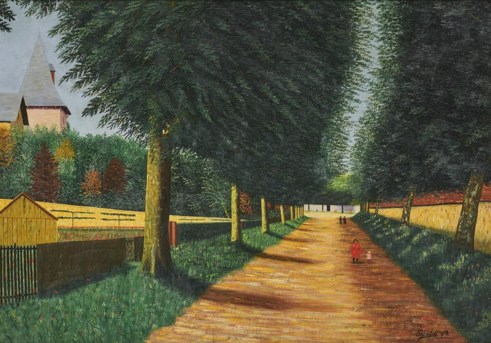 CAMILLE BOMBOIS, (French, 1883-1970), Allee a Chablis, oil on canvas, 25 1/2 x 36 1/2 in., frame: 32 1/2 x 42 1/2 in.