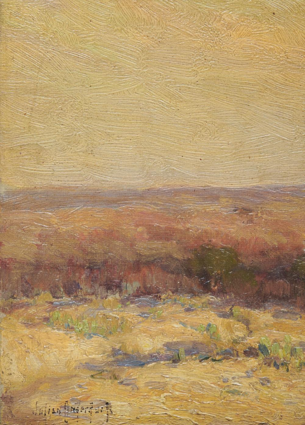 JULIAN ONDERDONK, (American, 1882-1922), Texas Morning, oil on board, 7 x 4 1/2 in., frame: 8 x 6 1/2 in.