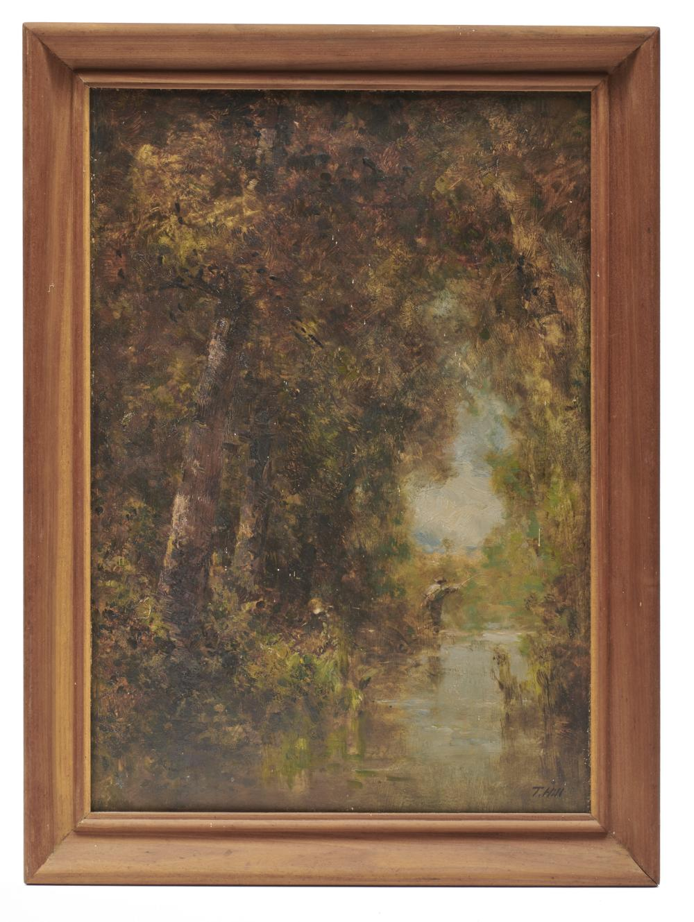 THOMAS HILL, (American, 1829-1908), Fly Fishing, oil on card, 20 x 14 in., frame: 23 1/2 x 17 in.