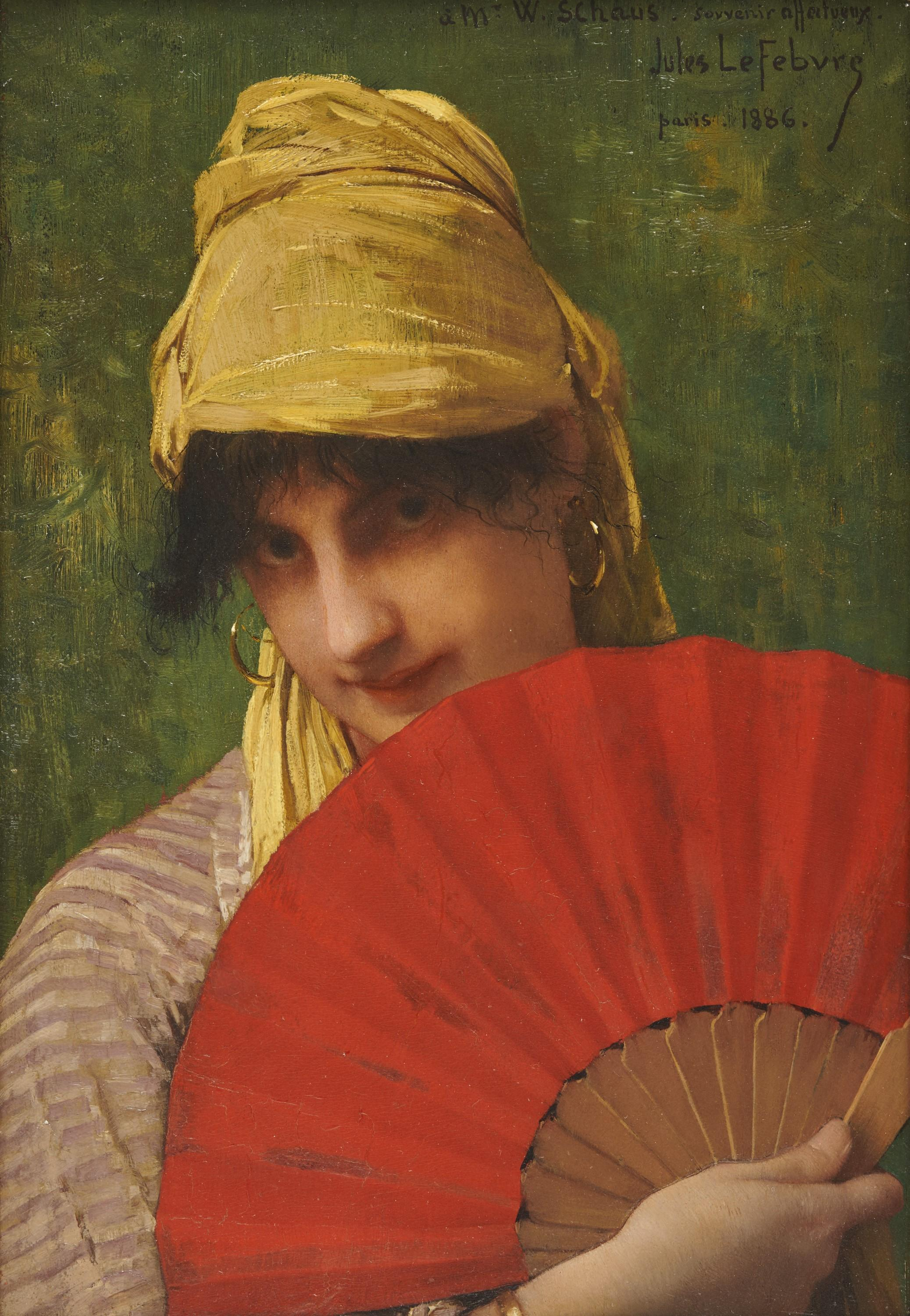 JULES JOSEPH LEFEBVRE, (French, 1836-1911), Woman with a Red Fan, oil on panel, 15 1/4 x 10 3/8 in., frame: 20 1/2 x 16 in.