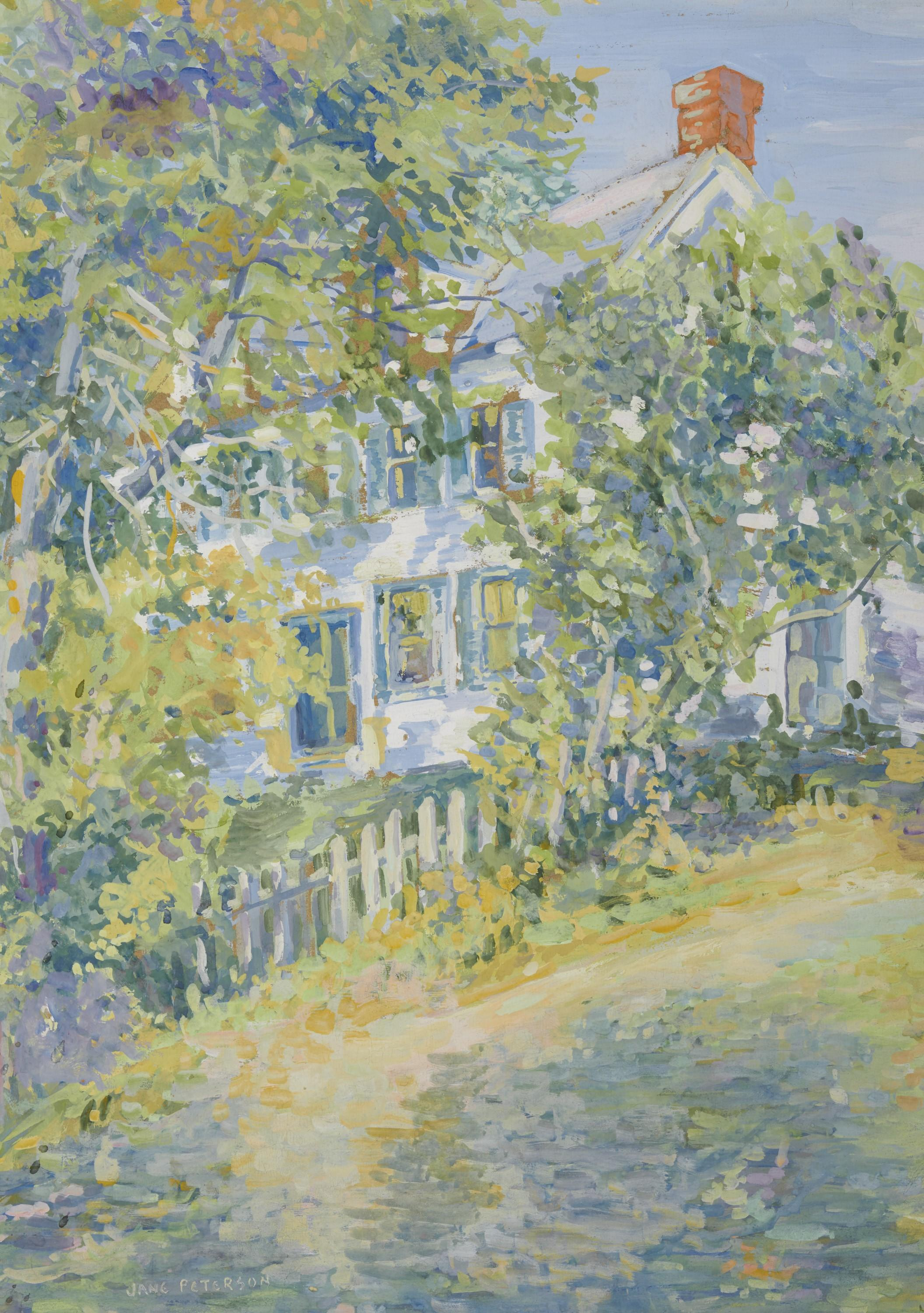 JANE PETERSON, (American, 1876-1965), White House, gouache, sight: 20 3/4 x 14 3/4 in., frame: 32 1/2 x 35 3/4 in.