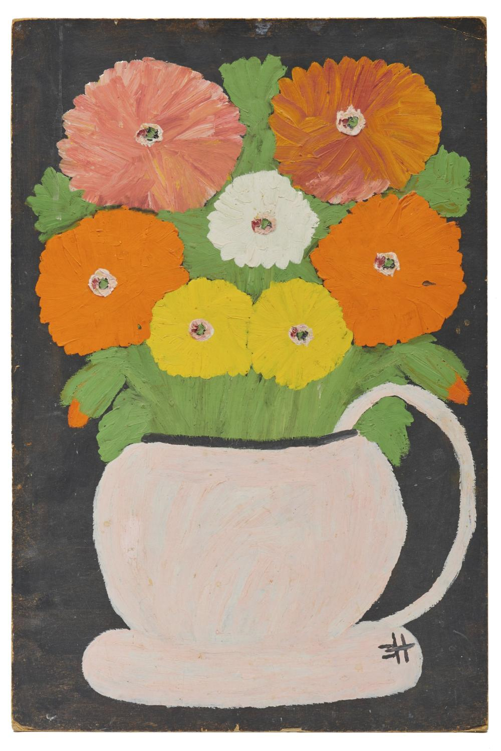 CLEMENTINE REUBEN HUNTER, (American, 1887-1987), Zinnias Looking at You, oil on board, 23 1/2 x 15 1/2 in.