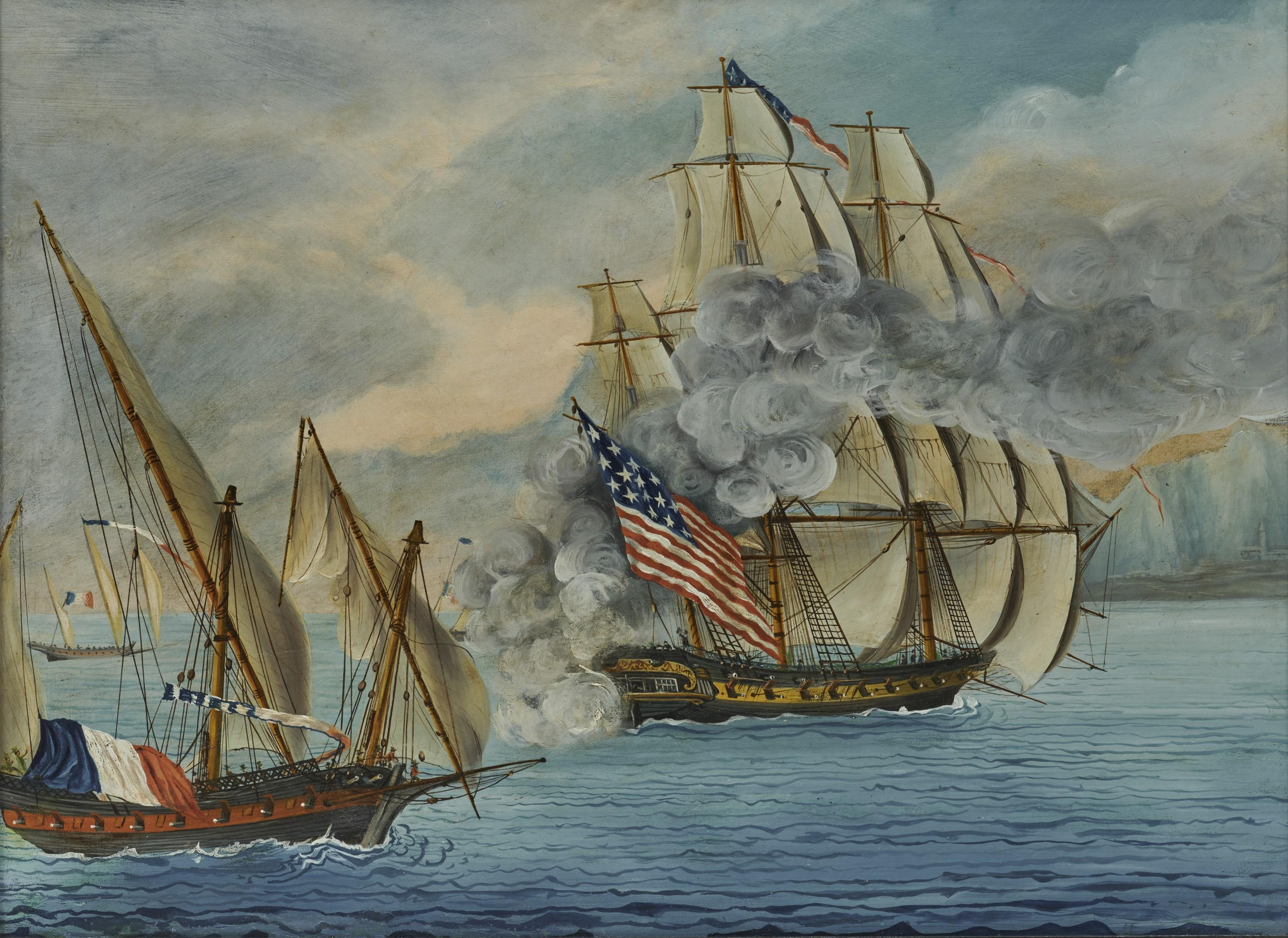 """Attributed to MICHELE FELICE CORNE, The Ship """"Mount Vernon"""" of Salem Engaging French Privateers, 1799, tempera on canvas, 18 x 24 in., frame: 21 3/4 x 27 1/2 in."""