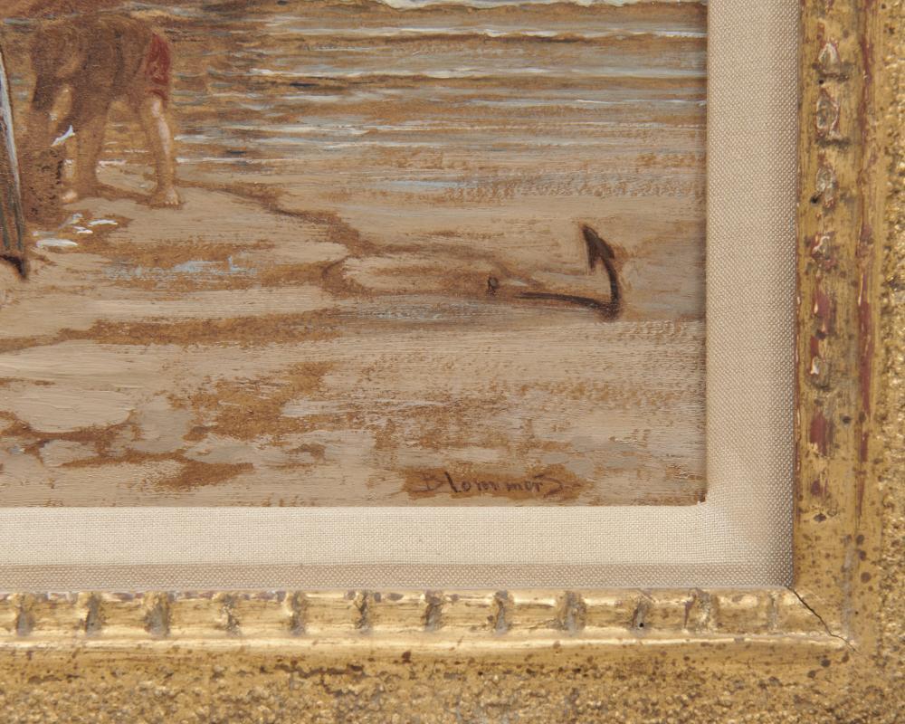BERNARD JOHANNES BLOMMERS, (Dutch, 1845-1914), On the Shore, oil on panel, 5 x 10 in., frame: 11 x 16 in.