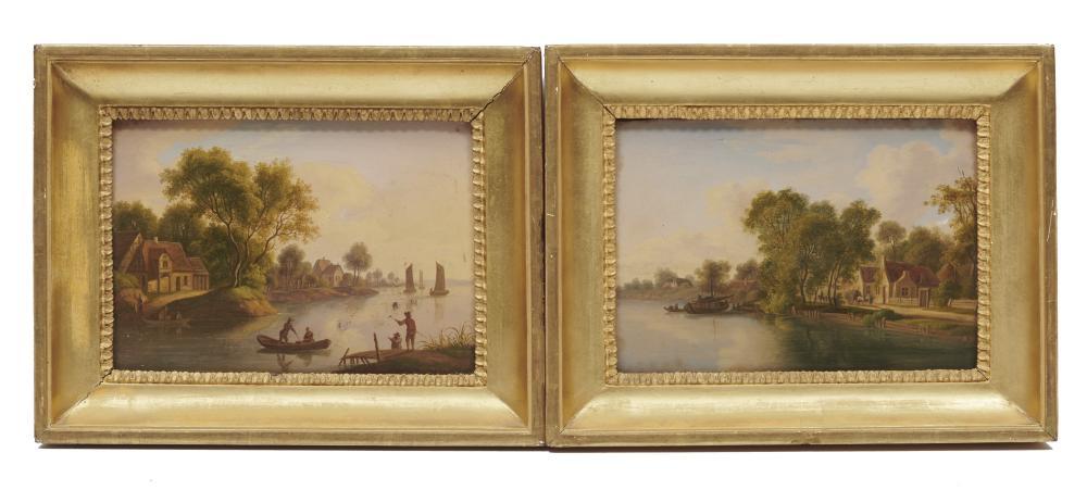 LOUIS CATOIR, (German, 1782-1841), Pair of Pastoral River Views, oil on panel, each 6 x 8 1/2 in., each frame: 9 x 11 1/2 in.