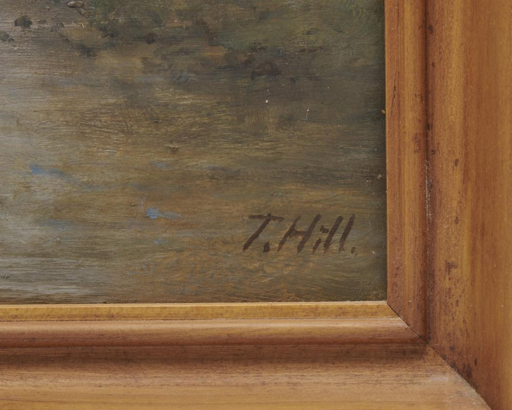 THOMAS HILL, (American, 1829-1908), Echo Lake and El Capitan, Yosemite, oil on card, 14 x 20 in., frame: 17 x 23 1/2 in.