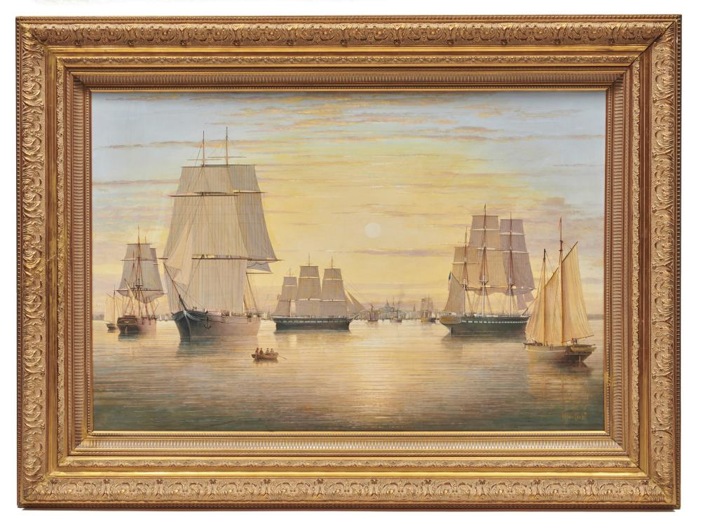 BRIAN COOLE, (British, b. 1939), Sailing Ships in Boston Harbor, oil on panel, 24 x 36 in., frame: 34 x 46 in.