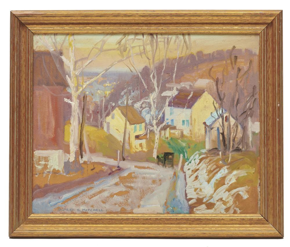 ALFRED RICHARD MITCHELL, (American, 1888-1972), Winter Landscape, oil on board, 16 x 20 in., frame: 19 3/4 x 23 3/4 in.