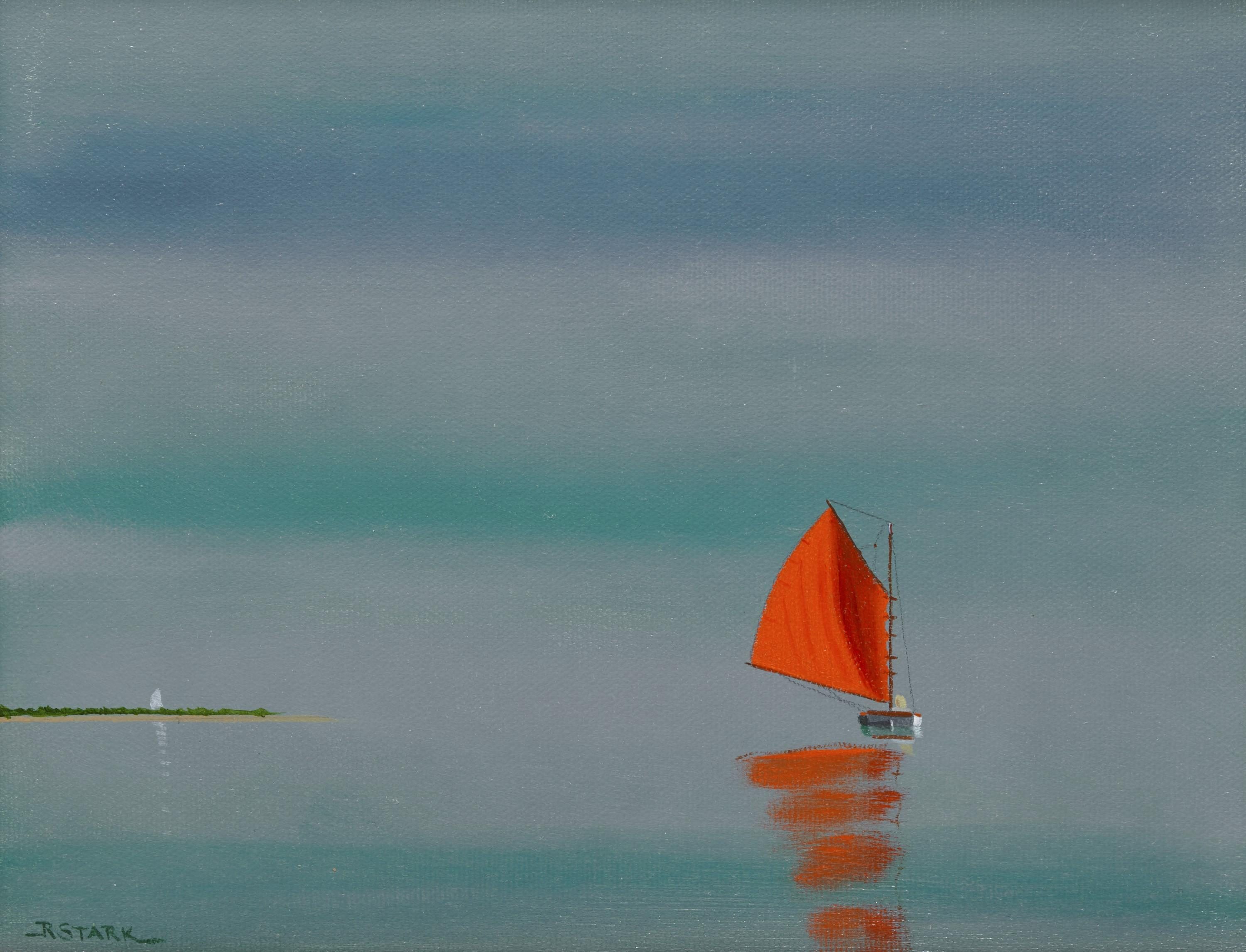 ROBERT W. STARK, JR., (American,1933-2014), Red Sail, oil on canvas, 8 x 10 in., frame: 10 1/2 x 12 1/2 in.