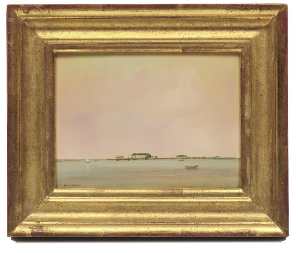 ANNE PACKARD, (American, b. 1933), Harbor View, oil on board, 6 x 8 in., 9 1/2 x 11 1/2 in.