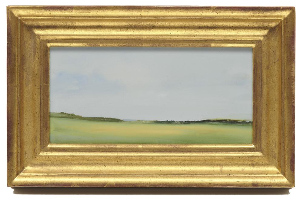 ANNE PACKARD, (American, b. 1933), Shoreline, oil on board, 5 x 10 in., frame: 8 1/2 x 13 1/2 in.