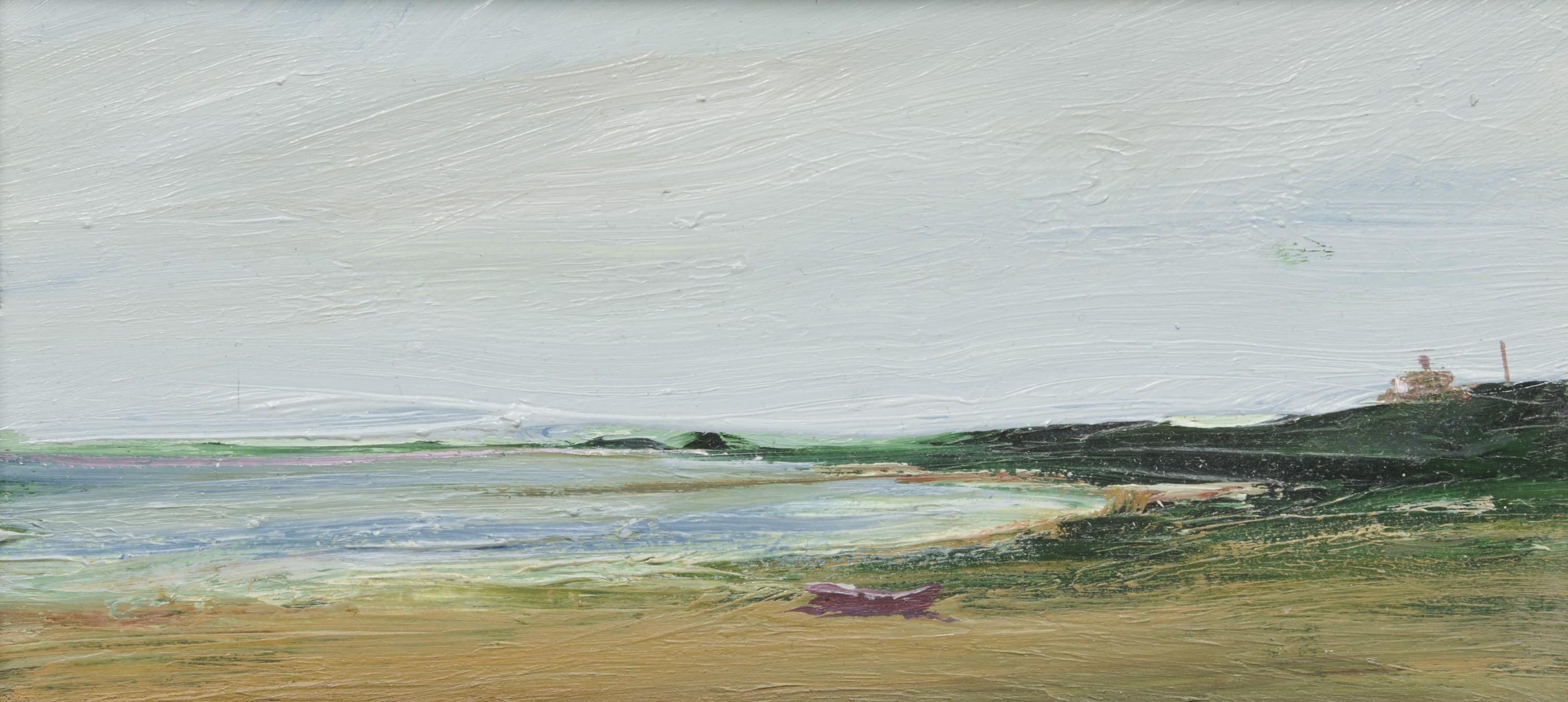ANNE PACKARD, (American, b. 1933), Shoreline with Dinghy, oil on board, 4 x 8 in., frame: 7 1/2 x 11 1/2 in.