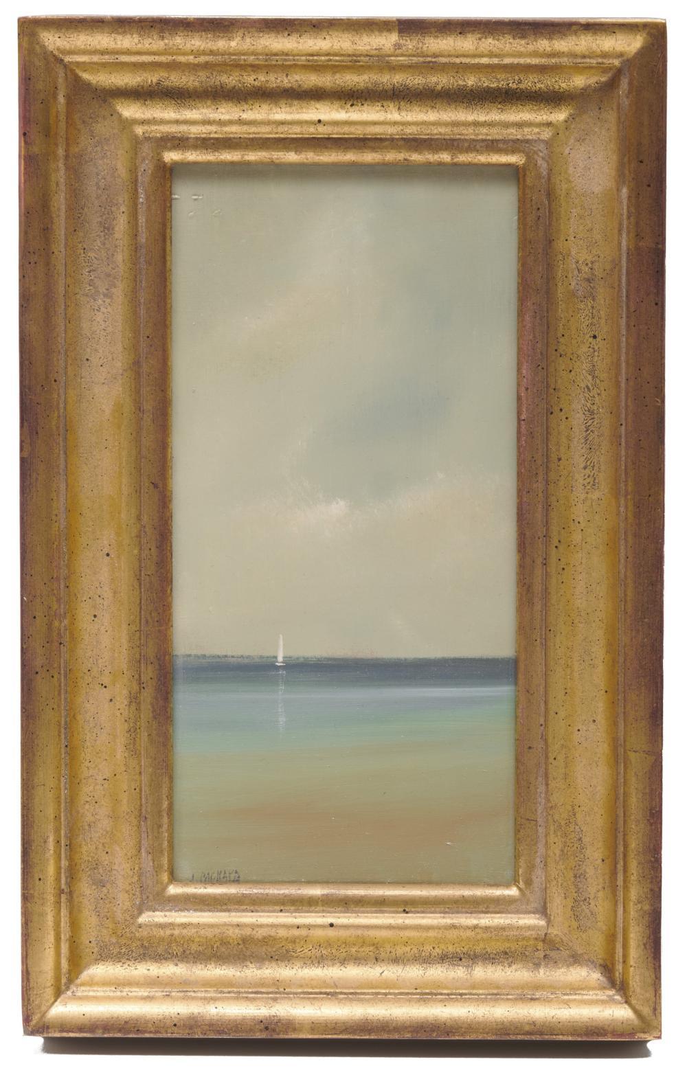 ANNE PACKARD, (American, b. 1933), Lone Sail Boat, oil on board, 10 x 5 in., frame: 13 1/2 x 8 1/2 in.