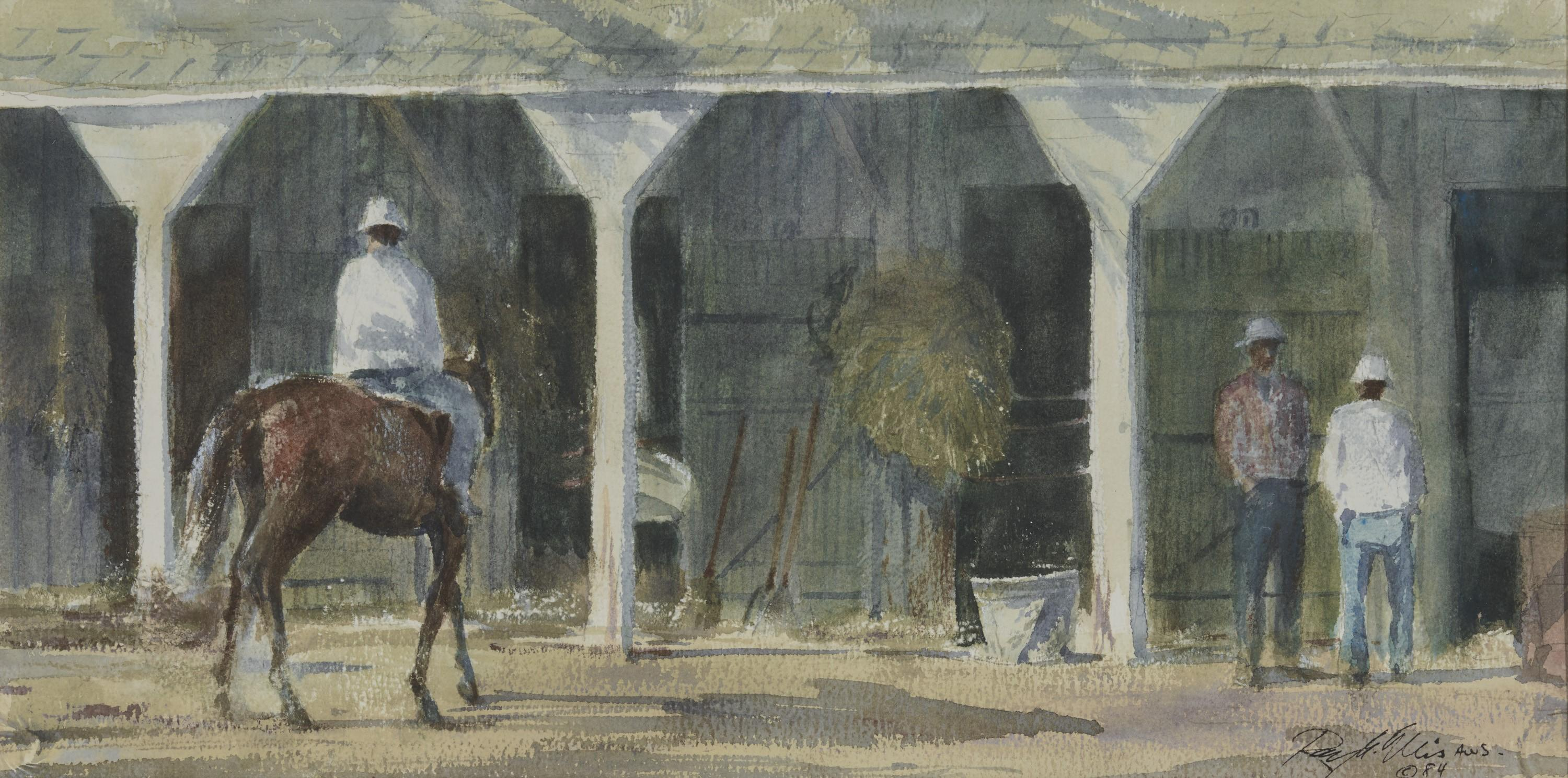 RAY GEORGE ELLIS, (American, 1921-2013), Saratoga Stables, 1984, watercolor, sight: 11 x 22 in., frame: 23 x 34 in.