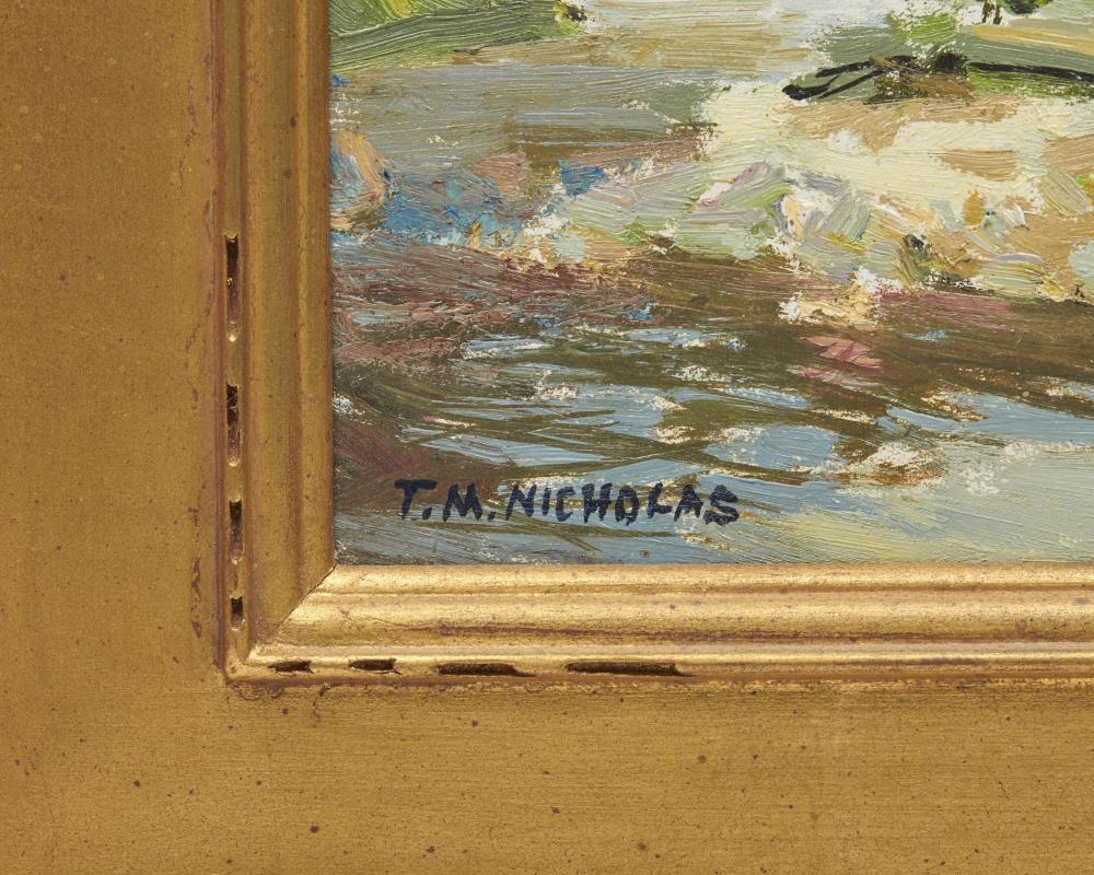 THOMAS M. NICHOLAS, (American, b. 1963), Blueberry Farm, Woodstock, Vermont, oil on board, 11 x 14 in., frame: 17 3/4 x 20 3/4 in.