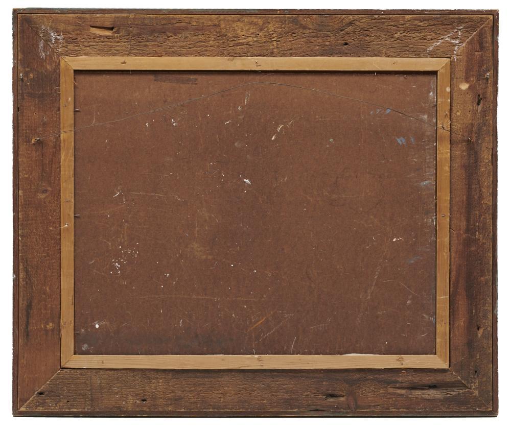 SAM BARBER, (American, b. 1943), Boatyard, oil on Masonite, 22 x 28 in., frame: 31 1/2 x 37 1/2 in.