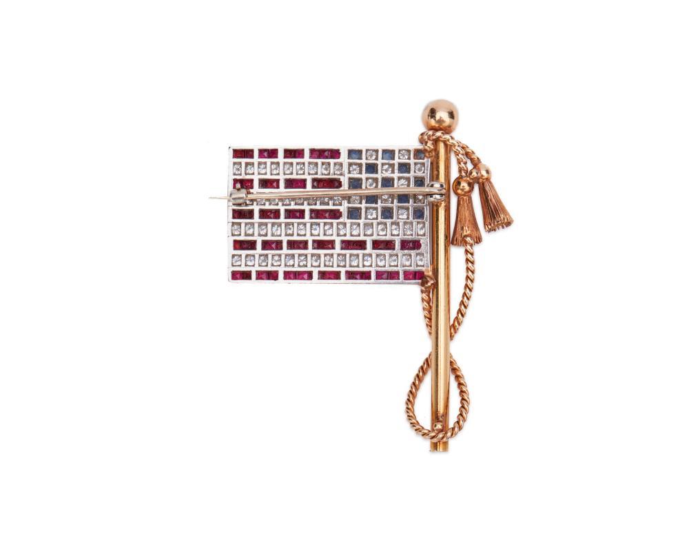18K Gold, Platinum, Diamond, Sapphire, and Ruby American Flag Brooch