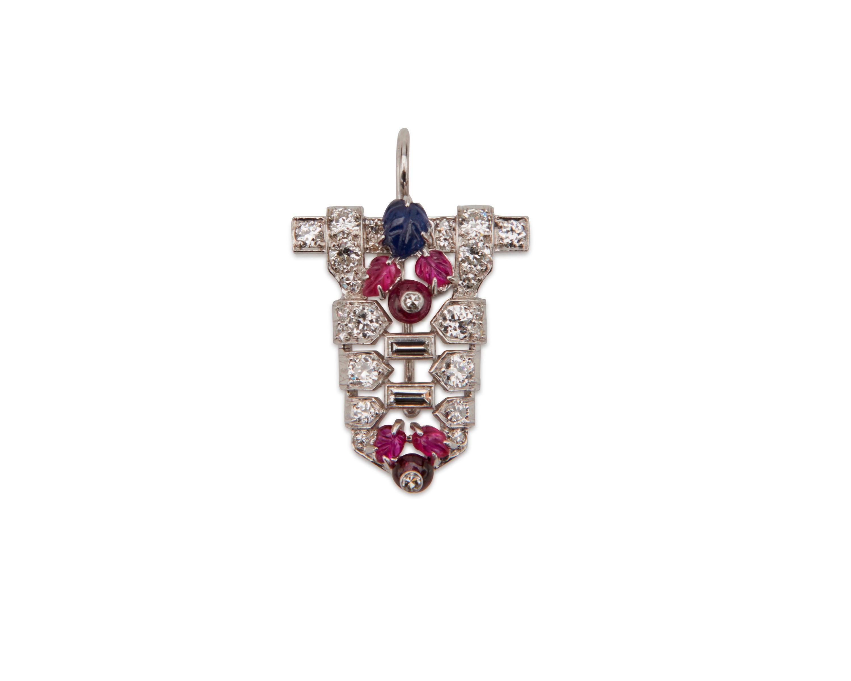 Platinum, Diamond, Ruby, and Sapphire Pendant