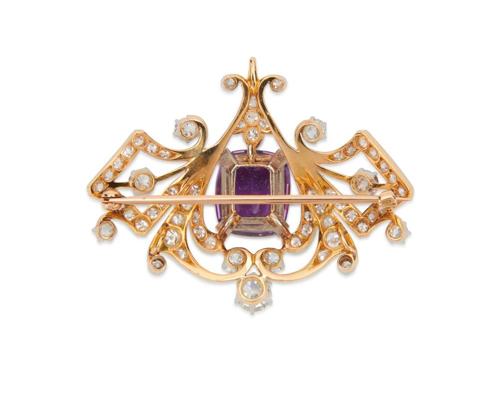 Platinum, 18K Gold, Diamond, and Amethyst Pendant/Brooch