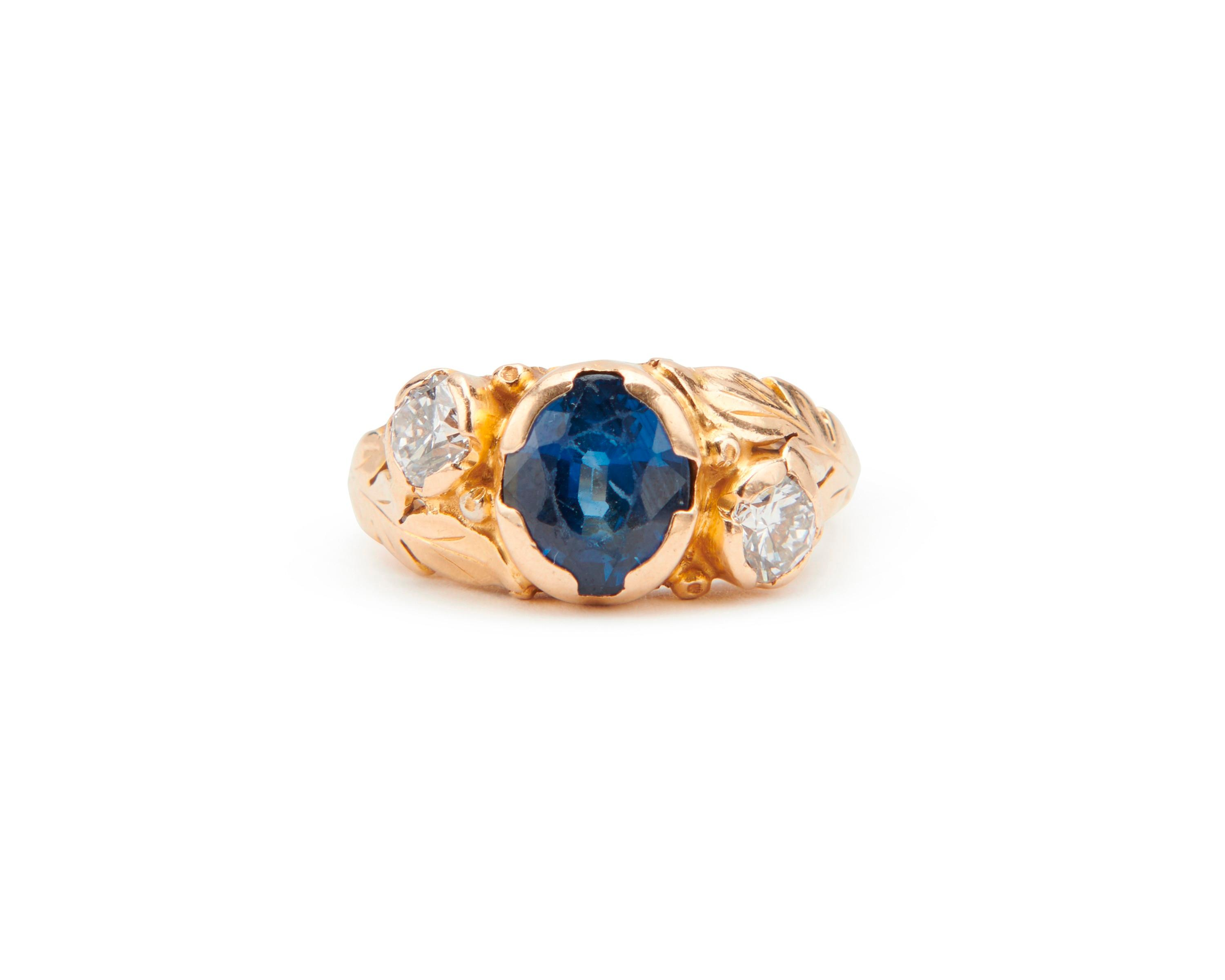 SUSAN PEABODY OAKES 14K Gold, Sapphire, and Diamond Ring