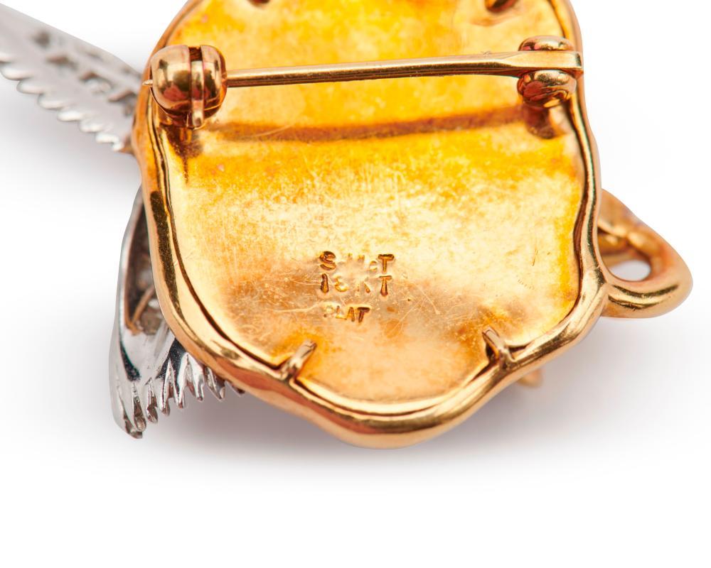 McTEIGUE 18K Gold, Platinum, Enamel, and Diamond Hummingbird Brooch