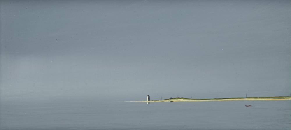 ANNE PACKARD, (American, b. 1933), Long Point, oil on board, 5 x 10 in., frame: 7 1/2 x 10 1/2 in.
