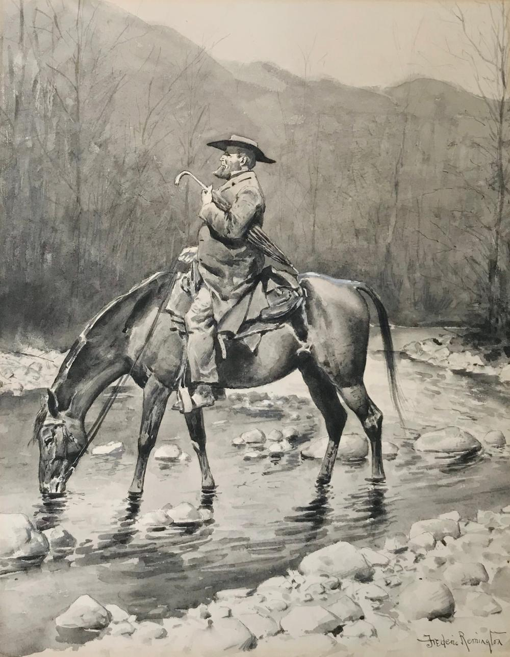 FREDERIC SACKRIDER REMINGTON, (American, 1861-1909), The Circuit Rider, watercolor en grisaille, sight: 22 1/2 x 17 1/2 in., sheet: 23 1/4 x 18 1/4 in., frame: 33 1/2 x 28 in.