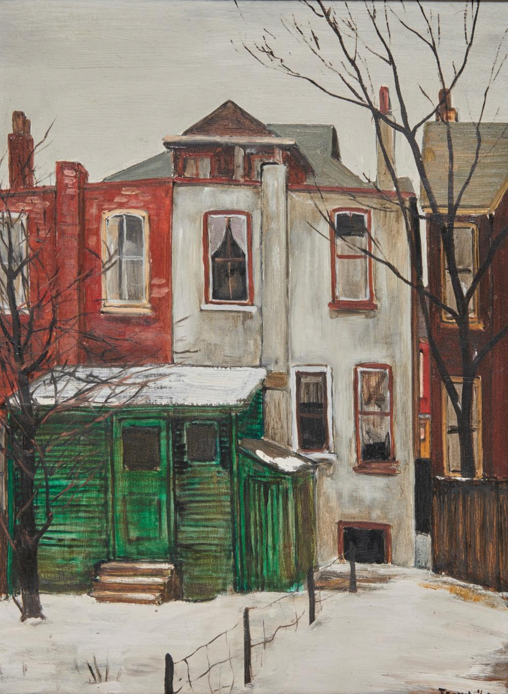 ALBERT JACQUES FRANCK, (Canadian, 1899-1973), Behind Rose Avenue, oil on masonite, 16 x 12 in., frame: 25 1/4 x 21 1/4 in.