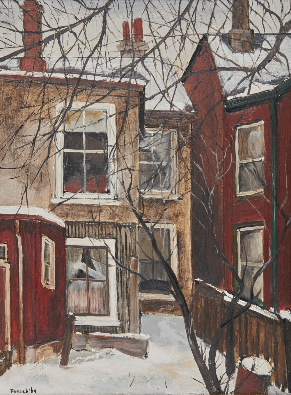 ALBERT JACQUES FRANCK, (Canadian, 1899-1973), Behind Major Street, oil on masonite, 16 x 12 in., frame: 24 1/2 x 20 3/4 in.
