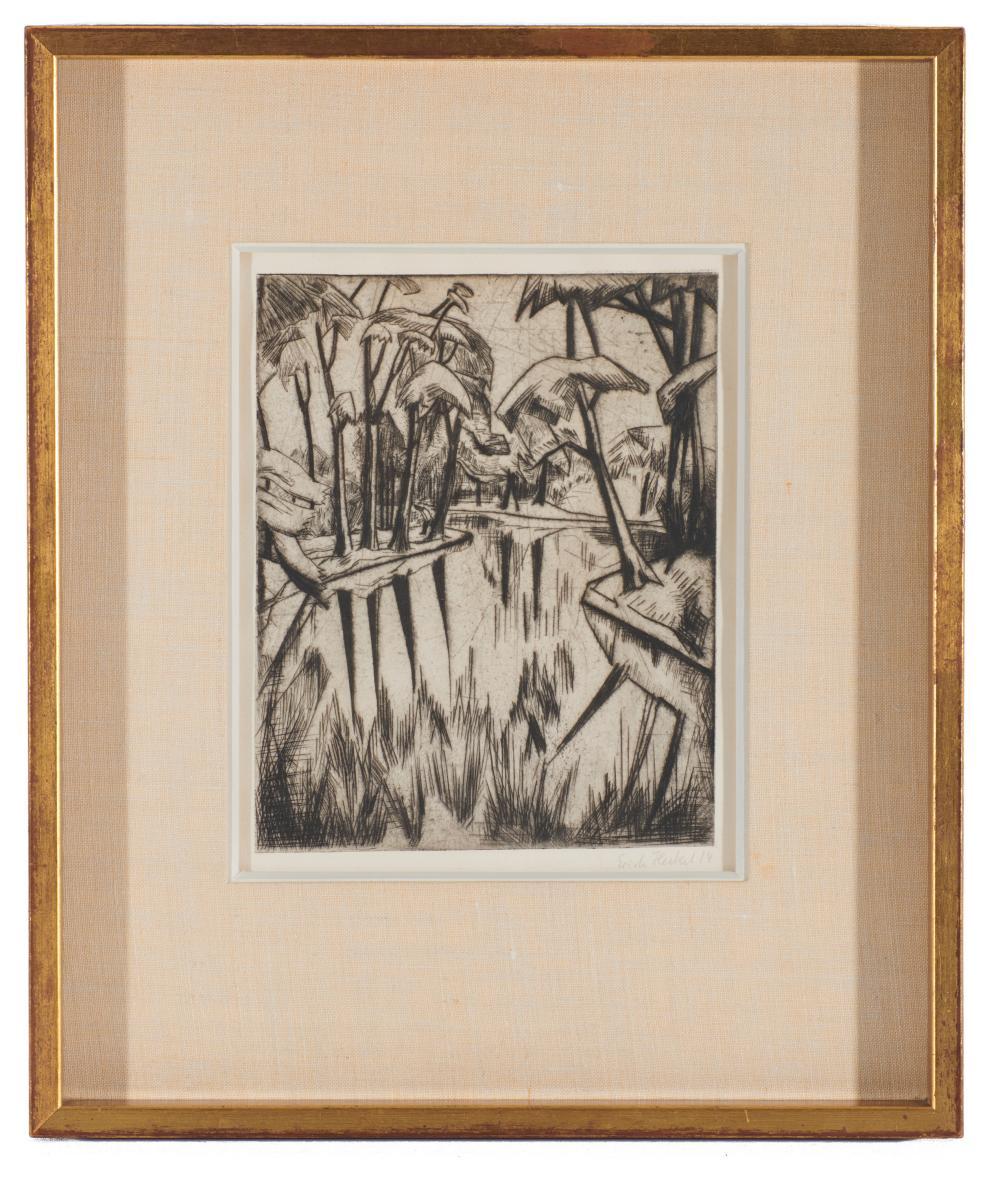 ERICH HECKEL, (German, 1883-1970), Parksee, 1914, drypoint, plate: 9 1/2 x 7 3/4 in., frame: 18 3/4 x 15 3/4 in.
