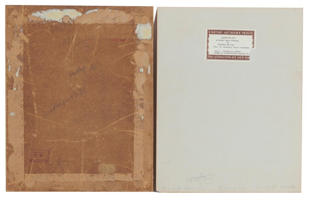 MARSDEN HARTLEY, (American, 1877-1943), Landscape #31, black ink on paper, sheet: 11 7/8 x 8 7/8 in., frame: 19 3/4 x 16 1/4 in.