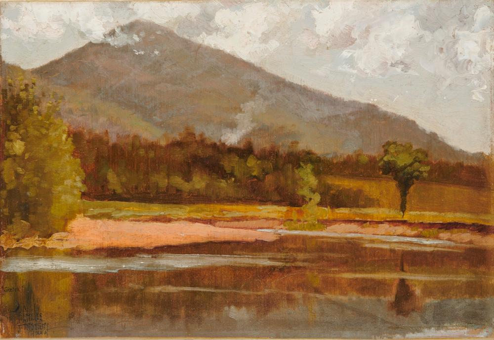 CHILDE HASSAM, (American, 1859-1935), Landscape, oil on card, 10 x 15 in., frame: 19 x 24 in.