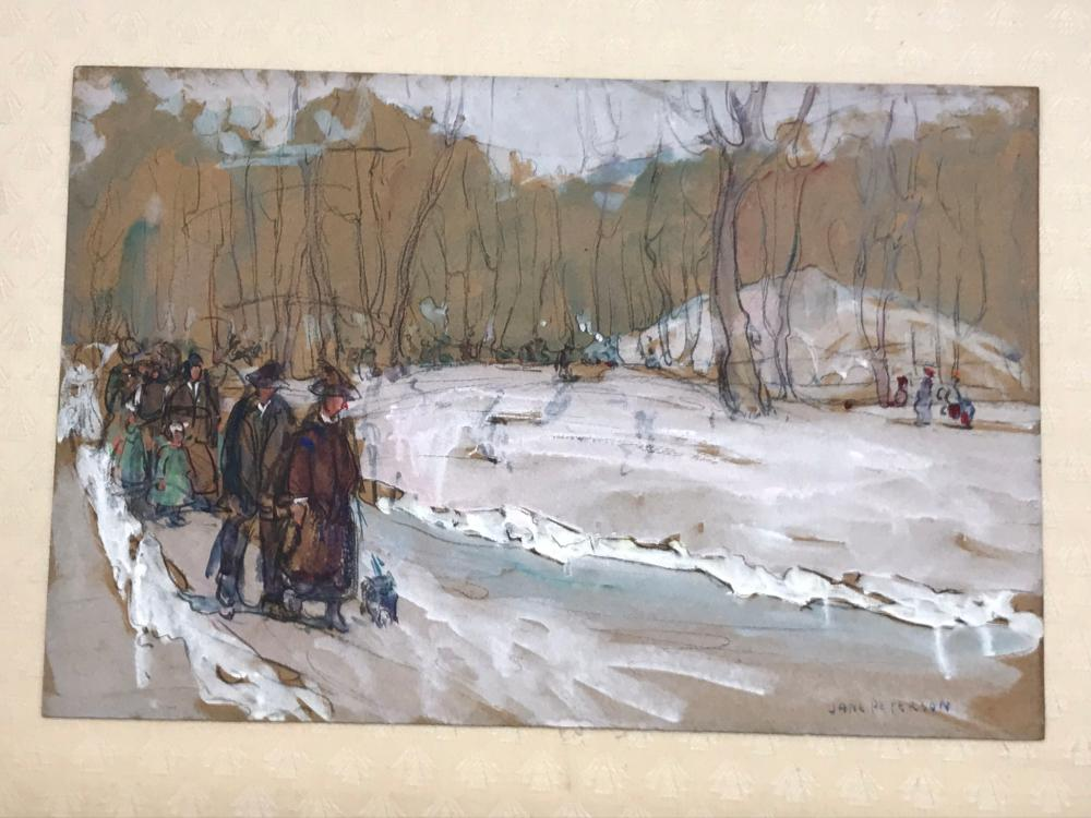 JANE PETERSON, (American, 1876-1965), Winter Stroll, watercolor and gouache on paper, sheet: 12 x 18 in., frame: 13 1/2 x 19 in.