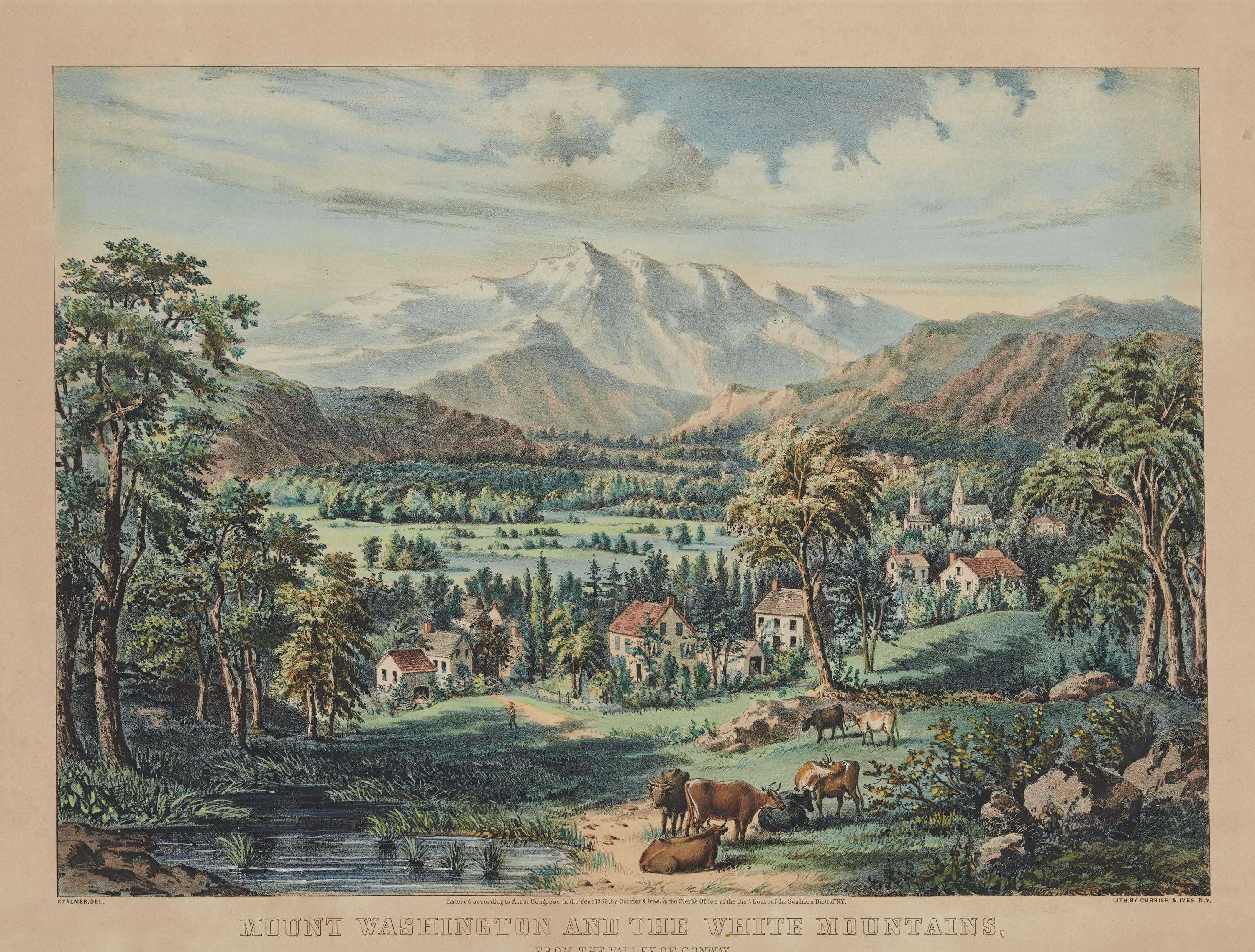CURRIER & IVES , (American, 19th century), Mount Washington and the White Mountains from the Valley of Conway, hand colored lithograph, 14 3/4 x 10 1/4 in., frame: 23 x 28 1/2 in.