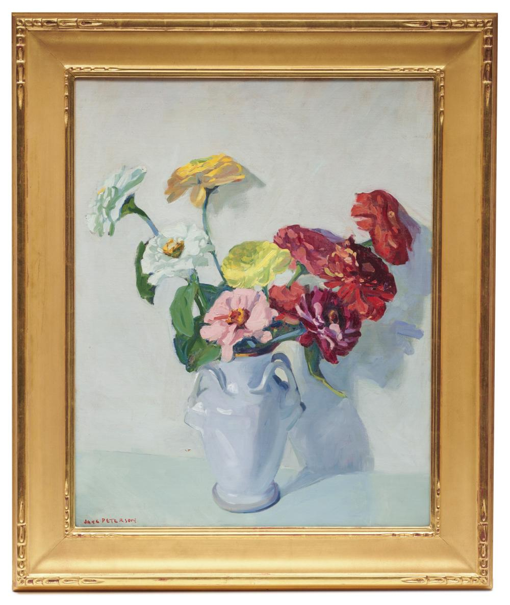 JANE PETERSON, (American, 1876-1965), Zinnias, oil on canvas, 30 x 24 in., frame: 38 x 32 in.
