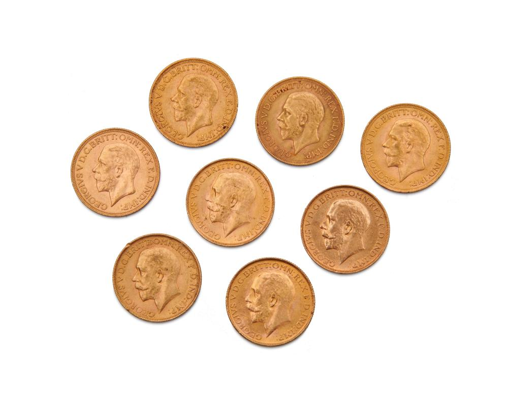 Eight English George V Gold Coins