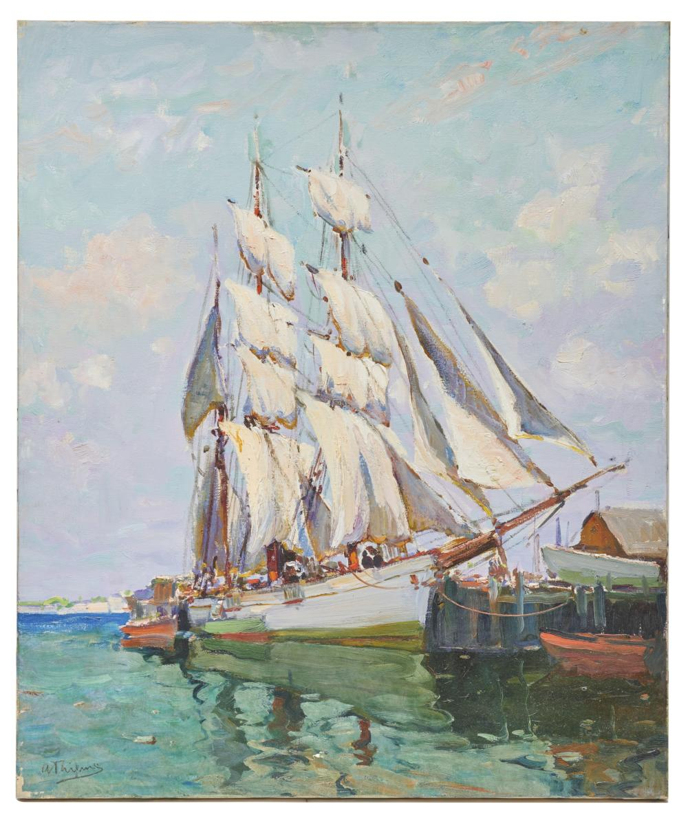 ANTHONY THIEME, (American, 1888-1954), Drying Sails, oil on canvas, 30 x 25 in.