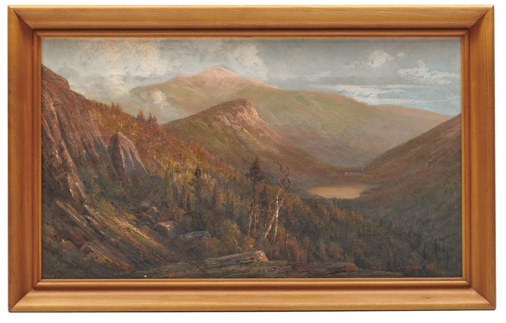 EDWARD HILL, (American, 1843-1923), Franconia Notch from Bald Mountain, 1881, oil on canvas, 13 1/2 x 24 in., frame: 17 x 27 1/2 in.